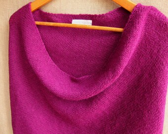 4 way knit wrap infinity scarf cowl snood in magenta