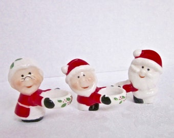 Christmas Candle Huggers Santa Mrs Claus Elf Candle Decoration Vintage Home Decor 1960s 1970s Set of 3
