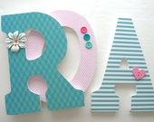Pink and Teal Custom Wood Letters, Nursery Decor, Baby Name Letters, Girls Bedroom Decorations, Wooden Nursery Letters, Hanging Letter