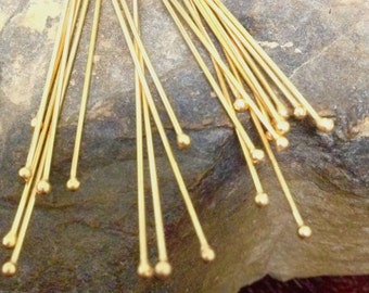 Vermeil Head Pins with Small 1.3mm Ball End - 10 Extra LONG  23 Gauge 80mm -  HB10