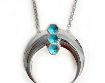 Boheme Deco Crescent - Turquoise Silver, crystal necklace