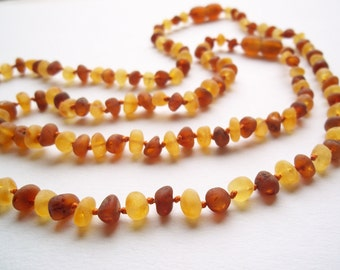 Raw unpolished Cognac  colour  Baltic Amber Baby Teething Necklace and Similar Remedy necklace for Mommy.