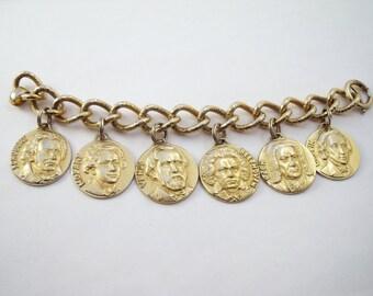 Vintage Napier composers charm bracelet