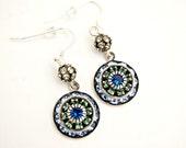 Light Blue Swarovski Drop Earrings/ Art Deco Earrings/ Swarovski Crystal Earrings/ Blue Earrings/ Green Rhinestone Earrings/ Round Earrings