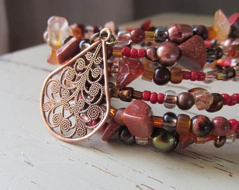 Layered Stone Memory Wire and Copper Stacked Bracelet - Rust - Burnt Orange - Copper Filigree