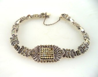Art Deco Style Sterling (925) Marcasite Link Bracelet