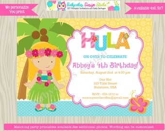Luau Invitation Luau Birthday Invitation Invite Luau Party hawaiian theme Luau invite Digital Printable CHOOSE YOUR GIRL