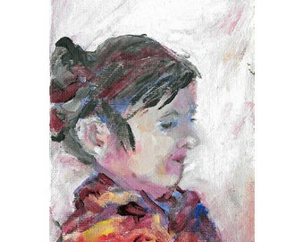 Original acrylic figurative portrait painting 7x5 Young girl lost in thought
