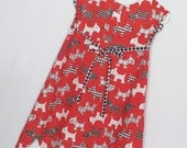 Girls Dresses, Scottie Dogs Fabric, Plaid, Red Dog Dress, Childrens Gifts, Kids Gifts, Girls Clothing, Scotty Dogs Dress