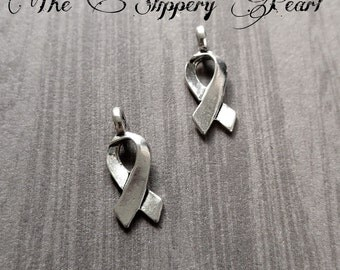 Awareness Ribbon Charms BULK Charms Silver Awareness Charms Antiqued Silver Cancer Awareness Charms Fundraisers Bulk 100 pieces Wholesale