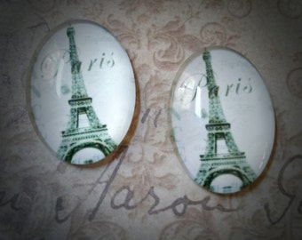 Oval Glass Cabochons Paris Cabochons 25x18 Flat Back Embellishments France Cabochons 4 pieces