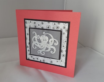 Glitter Octopus Birthday Card