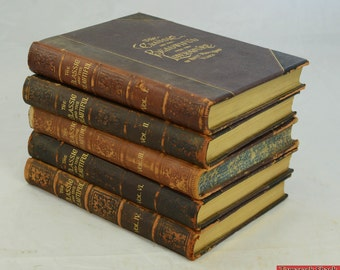 c1888 The Classic & Beautiful From Literature of 3000 Years Leather Bound 5 Vols