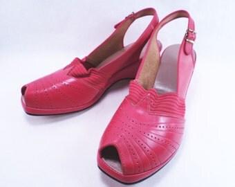 40's Red Shoe Peep Toe Sandal Paris Fashion Casual Size Vintage Mid Century