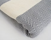 SALE 50 OFF/ Herringbone Blanket / Gray / Bedcover, Beach blanket, Sofa throw, Traditional, Tablecloth