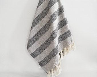 BathStyle / BathStyle Diamond Turkish Beach BathTowel / Gray Black /  Wedding Gift, Tea, Spa, Swim, Pool Towels