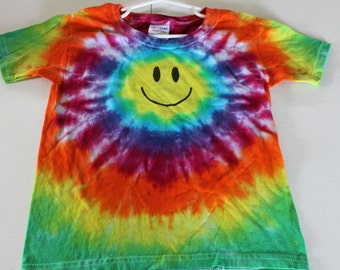 Tie Dye Kid's Smiley Face Tee Shirt
