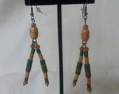 Green Resistor and Wood Double Dangle Earrings - Electronic Geek Jewelry
