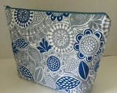 Blue & Grey Flowers - Large Zippy Poor Girl Project Bag