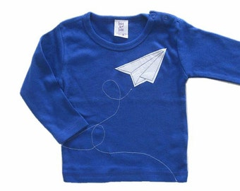 Paper Airplane Tee, Baby Boy Clothing, 1st Birthday Outfit, Origami Plane