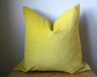 Chartreuse green cotton velvet pillow cover euro sham 16 18 20 22 24 26 cushion nursery lumbar Christmas rustic luxe