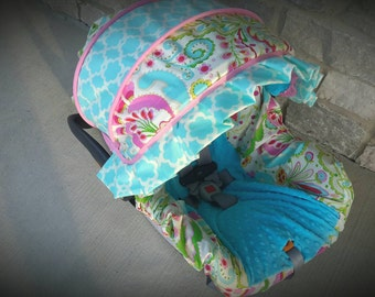 Baby Girl Infant car seat cover-beautiful pinks blues and greens with blue minky  and accent ruffle -  Always comes with FREE strap Covers