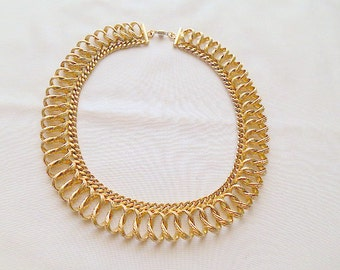 Vintage brass open chain short Necklace