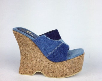 90's Luichiny Denim Blue Jean Patchwork Cork Platform Wedge Mules // 6 // Deadstock