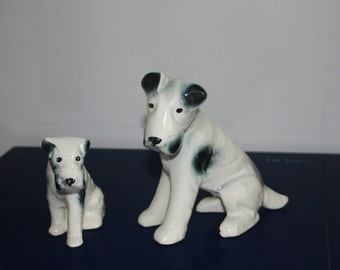 Vintage Collectible Figurine / Puppies/  Terrier Pair/ Mother and Puppy