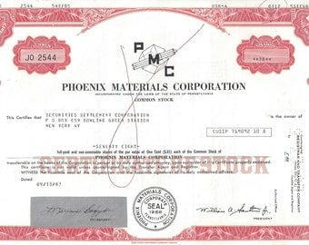 Phoenix Materials Corporation Vintage Original Stock Certificate, Less than 100 Shares, 1960-80s