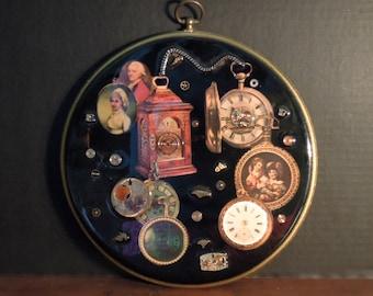 Vintage Wall Plaque / Clock Parts / Resin on Wood / Kitschy Art / Vintage Clocks / Industrial