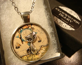 The Traveling Cat - Silver Cat Over Vintage Map Pendant Necklace (2066)