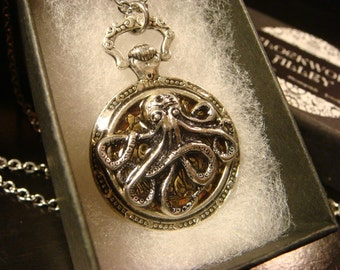 Octopus Gear Pocket Watch Style Pendant Necklace (2196)
