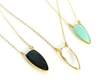 Dagger Point Gemstone Necklace, Boho Long Layering Necklace, Black Onyx, Aqua, Clear Crystal Pendant, Gemstone Jewelry, Gold Bezel Gemstone