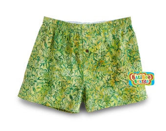 Cotton Boxers Hand-dyed Green, Batik Boxers Cotton, Boxer Shorts Hand-dyed, Green Batik Cotton Boxer Underwear