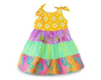 Girl Summer Dress Seahorse, Girl Dress, Batik Cotton Dress Hand-dyed, Girl Batik Dress Summer