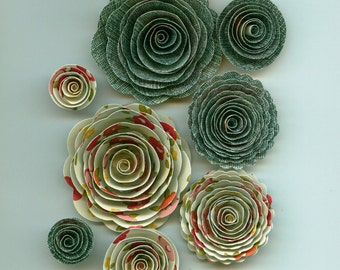 Girly Blue Jean and Flower Patterned Handmade Spiral Paper Flowers