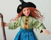Morag the Witch, hand sculpted miniature doll in 1/12th, one inch scale, ooak