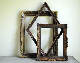 Open Wood Frames | Set of 3 Vintage Wood Frames | Carved Wood in Browns with Gold Accents | Rustic Cabin Decor