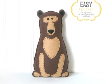 Brown Bear Stuffed Animal Pattern, Felt Hand Sewing Bear Plushie Pattern, Woodland Bear Softie Pattern, Instant Download PDF