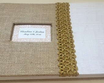 Rustic Wedding Guest Book - Burlap Wedding Guestbook - Lace Rustic Guestbook - Brown, White and Gold (Custom Colors Available)