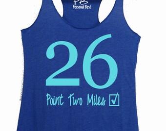Marathon Running tank  - 26.2 running tanks for women's - Marathon running top - woman running shirt