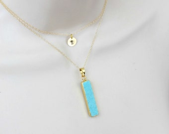 Turquoise Necklace, Layered Necklace, Initial Necklace, Gold Necklace, Layer Necklace, Vertical Bar, Pendant Necklace, Initial Jewelry,
