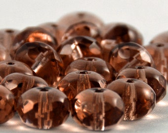 Czech Glass Beads French Rose 9x6mm- 25 Beads