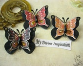 Black Ochre and Red Paper Butterflies, Paper Embellishments for Scrapbooking Cards Mini Albums Tags and Paper Crafts
