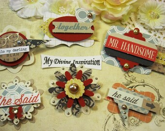 Teresa Collins She Said He Said Handmade Paper Embellishments and Paper Flowers for Scrapbook Layouts Cards Mini Albums and Paper Crafts