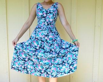 Vintage 1980s LANZ ORIGINALS floral midi-length sleeveless tea garden dress