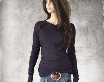Ruffle raglan top/purple thumbhole tee/super long scrunch sleeve/crew neck