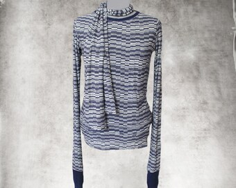 Retro abstract top/Navy scarf knit/Extra long sleeve tee/crew neck shirt