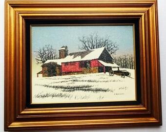 H Hargrove painting farm barn in winter framed artwork art signed Americana Folk Art